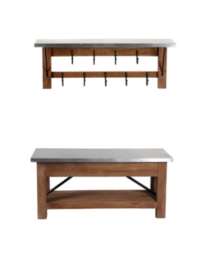 Alaterre Furniture Millwork Wood And Zinc Metal Bench With Open Coat Hook Shelf In Brown