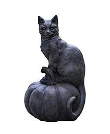 Cat on Pumpkin Garden Statue