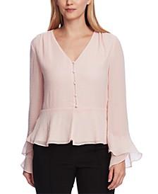 Women's Flutter Cuff Button Front Blouse
