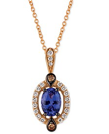 "Blueberry Tanzanite (5/8 ct. t.w.) & Diamond (1/5 ct. t.w.) 18"" Pendant Necklace in 14k Rose Gold"