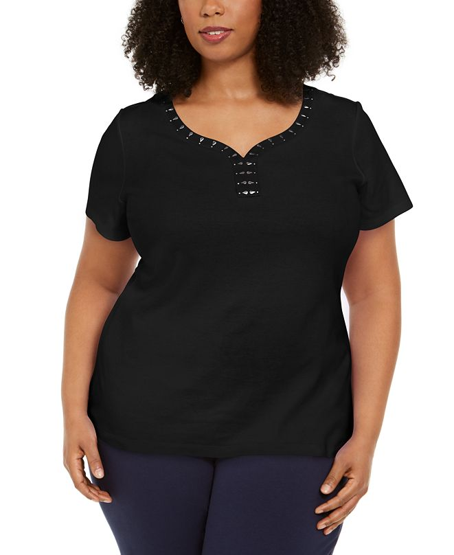 Karen Scott Plus Size Studded Y-Neck Top, Created for Macy's