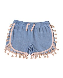 Toddler Girls Pull on Tassel Chambray Shorts
