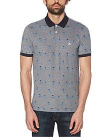 Men's Birdseye Palm Print Short Sleeve Polo Shirt