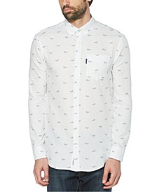 Men's Glasses Print Long Sleeve Button-Down Shirt