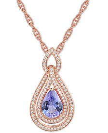 "Certified Ruby 1-1/4 ct. t.w. & Diamond (1/4 ct. t.w.) 18"" Pendant Necklace in 14k Rose Gold (Also available in Emerald, Sapphire and Tanzanite)"