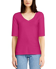Cotton Elbow-Sleeve T-Shirt, Created for Macy's