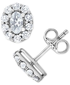 Diamond Oval Halo Stud Earrings (1 ct. t.w.) in 14k White Gold