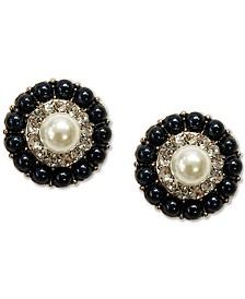 Gold-Tone Pavé & Imitation Pearl Cluster Mini Stud Earrings, Created for Macy's