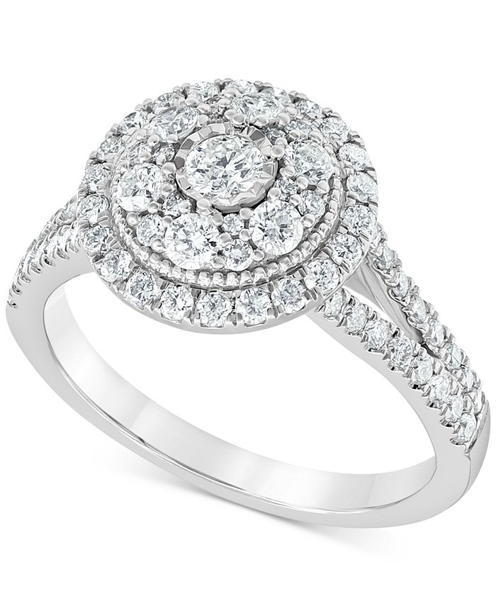 Macy's - Diamond Multi-Layer Halo Engagement Ring (1 ct. t.w.) in 14k White Gold