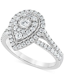 Diamond Teardrop Halo Engagement Ring (1 ct. t.w.) in 14k White Gold
