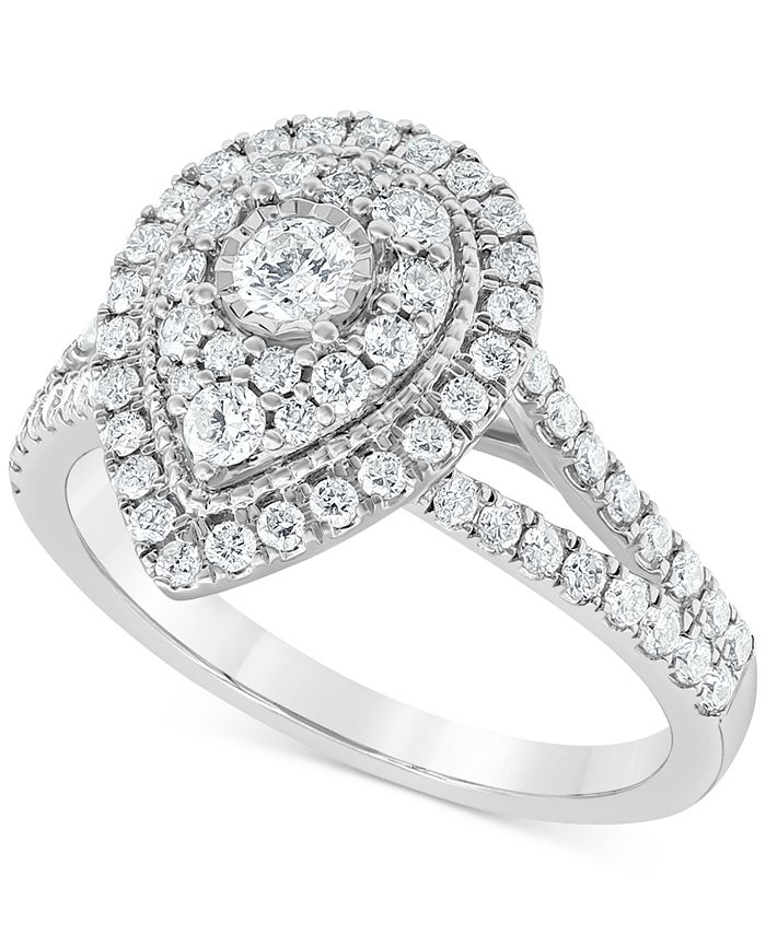 Macy's - Diamond Teardrop Halo Engagement Ring (1 ct. t.w.) in 14k White Gold