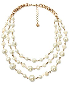 "Gold-Tone Imitation Pearl & Bead Layered Collar Necklace, 17"" + 2"" extender, Created for Macy's"