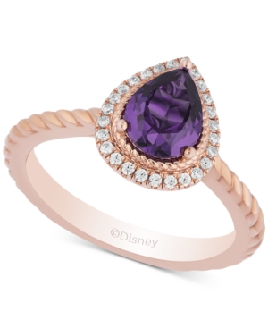 Enchanted Disney Amethyst (7/8 ct. t.w.) & Diamond (1/8 ct. t.w.) Ariel Ring in 14k Rose Gold