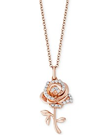 "Enchanted Disney Diamond Rose Belle Pendant Necklace (1/10 ct. t.w.) in 14k Rose Gold, 16"" + 2"" extender"