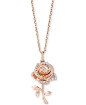 Enchanted Disney Diamond Rose Belle Pendant Necklace (1/10 ct. t.w.) in 14k Rose Gold