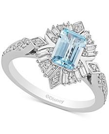Enchanted Disney Aquamarine (7/8 ct. t.w.) & Diamond (1/3 ct. t.w.) in 14k White Gold Elsa Ring