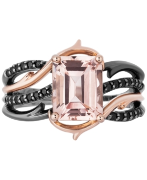 Enchanted Disney Villains Morganite (2-1/4 ct. t.w.) & Black Diamond (1/5 ct. t.w.) Maleficent Ring in 14k Rose Gold & Black Rhodium-Plated Sterling Silver