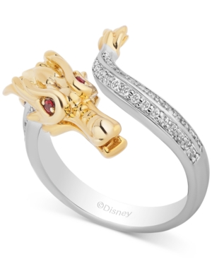 Enchanted Disney Diamond (1/4 ct. t.w.) & Rhodolite Garnet (1/20 ct. t.w.) Mulan Dragon Ring in 14k Gold & Sterling Silver