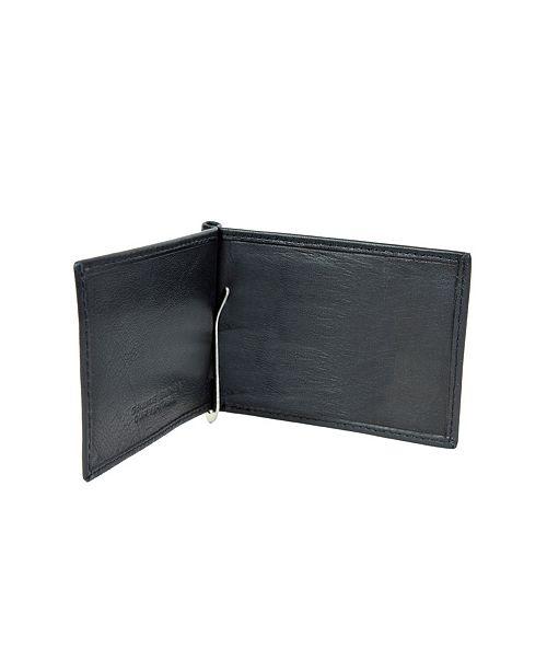 CHAMPS Genuine Leather Bill Fold Money Clip
