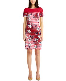 Plus Size Striped Floral-Print Dress, Created for Macy's