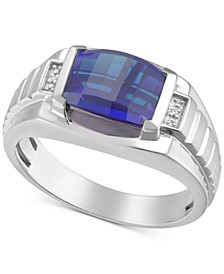 Men's Lab-Created Ruby & Diamond Accent Ring in 18k Gold-Plated Sterling Silver (Also in Lab-Created Sapphire)