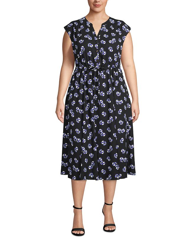 Anne Klein Floral-Print Drawstring-Waist Dress