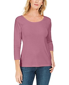 Plus Size 3/4-Sleeve Cotton Scoop-Neck Top, Created for Macy's
