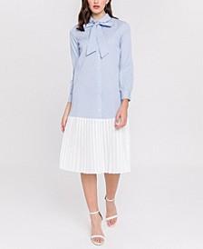 Pleated Combo Shirt Dress