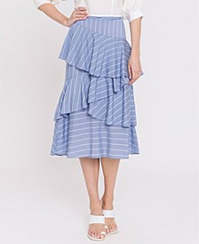 Pin Striped Asymmetrical Ruffled Skirt