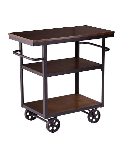 Southern Enterprises Cazate Industrial Rolling Kitchen Island Reviews Furniture Macy S