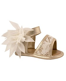Baby Girls Strap Sandal with Lace Trim