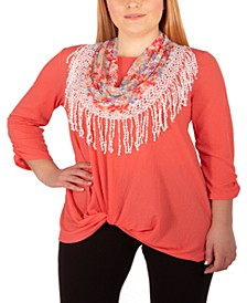 Plus Size Twist-Hem Fringed-Scarf Top