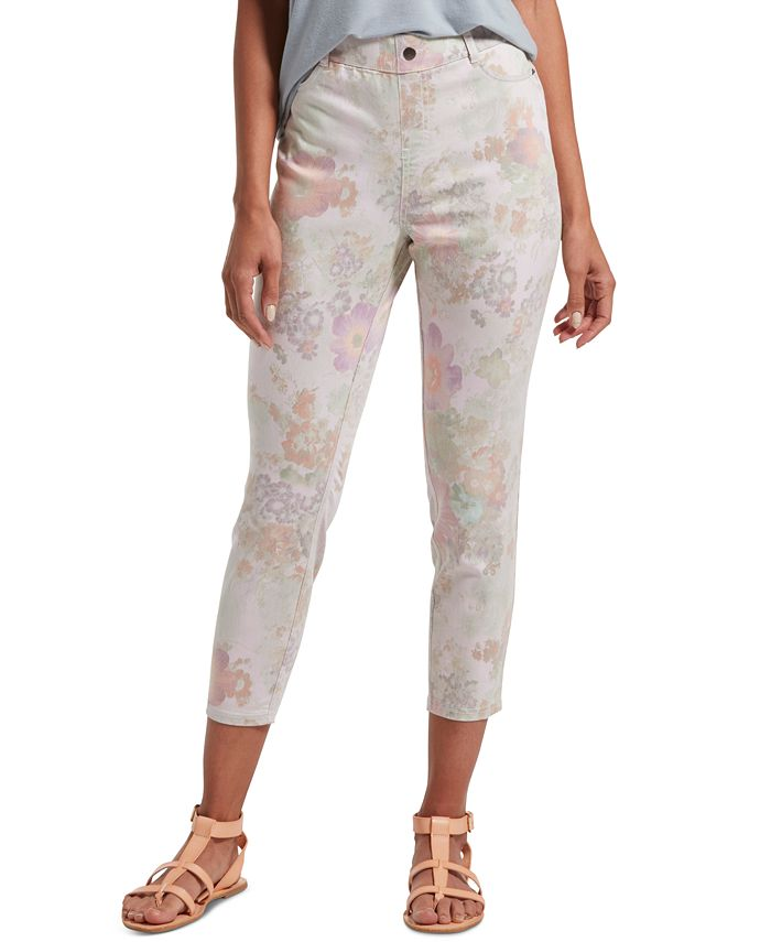 Hue - Women's Floral-Print Ultra Soft Denim High-Waist Capri Leggings