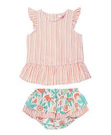 Baby Girl Stripe Peplum Top and Seaside Floral Skirted Bloomer