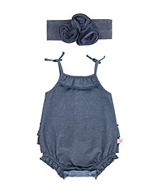 Baby Girl Faux Denim Romper and Headband Set