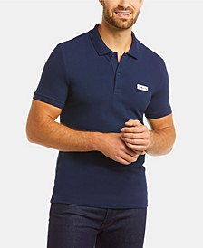 Men's Slim Fit Short Sleeve Stretch Cotton Pique Solid Polo Shirt with Retro Lacoste Logo
