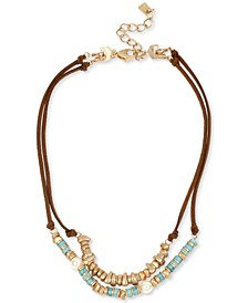 """Gold-Tone Beaded Double-Row Convertible Suede Necklace, 16"""" + 2"""" extender"""
