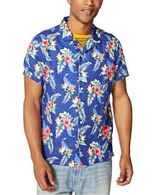 Men's Classic-Fit Tropical-Print Camp Shirt