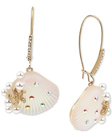 Gold-Tone Pavé & Imitation Pearl Seashell Linear Drop Earrings