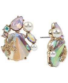 Gold-Tone Crystal & Imitation Pearl Seashell Cluster Button Earrings