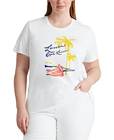 Plus Size Tropical-Inspired Top