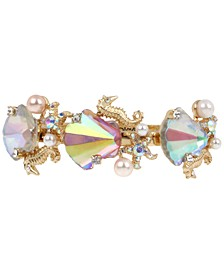 Gold-Tone Crystal & Imitation Pearl Seashell Bangle Bracelet