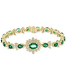 EFFY® Emerald (6-3/8 ct. t.w.) & Diamond (1-1/5 ct. t.w.) Link Bracelet in 14k Gold