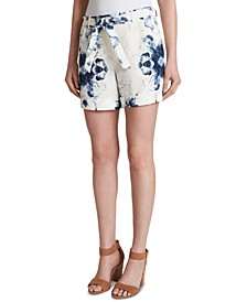 Printed Belted Cuffed Suit Shorts