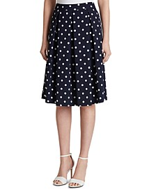Dot-Print Pleated Skirt