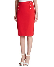 Button-Trim Pencil Skirt