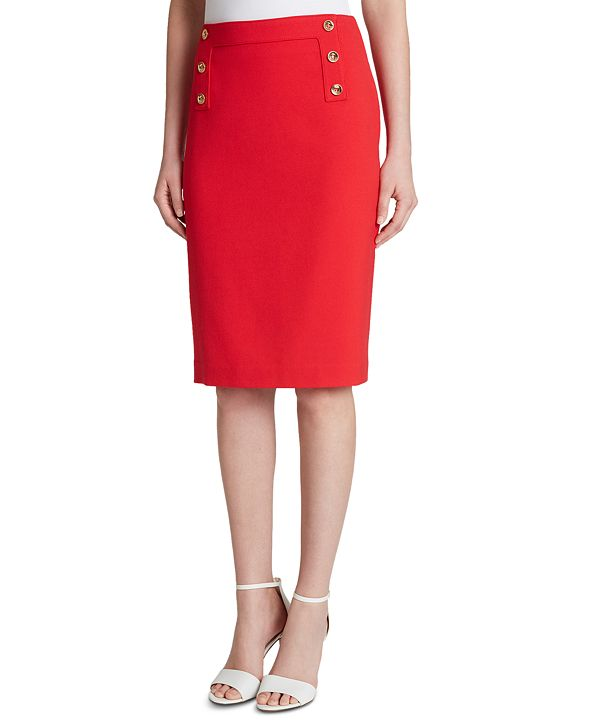 Tahari ASL Button-Trim Pencil Skirt