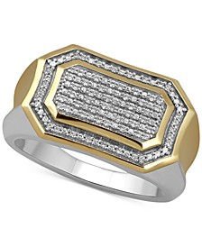 Men's Diamond Pavé Cluster Ring (1/5 ct. t.w.) in Sterling Silver & 18k Gold-Plate