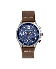 Men's Canyon Ridge Brown Genuine Leather Chronograph Watch 45mm