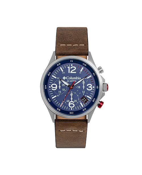 Columbia Men's Canyon Ridge Brown Genuine Leather Chronograph Watch 45mm